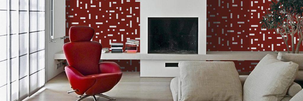 poltrona rossa e camino nel soggiorno moderno